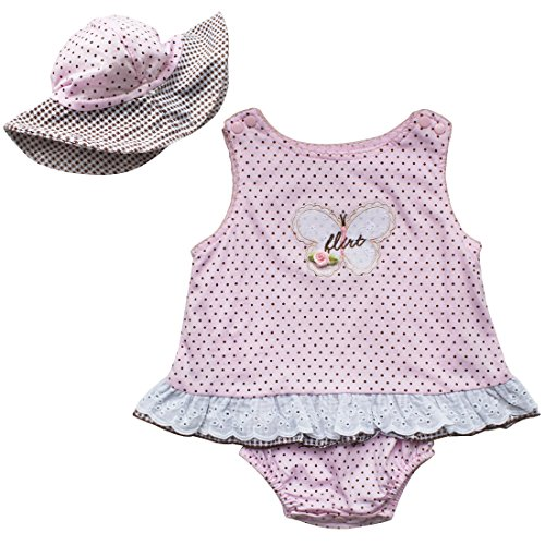 Baby Girls Easter Polka Dots Dress Romper with Sun Hat