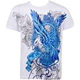 Sakkas Metallic Blue Eagle Short Sleeve Crew Neck Cotton Mens Fashion T-Shirt