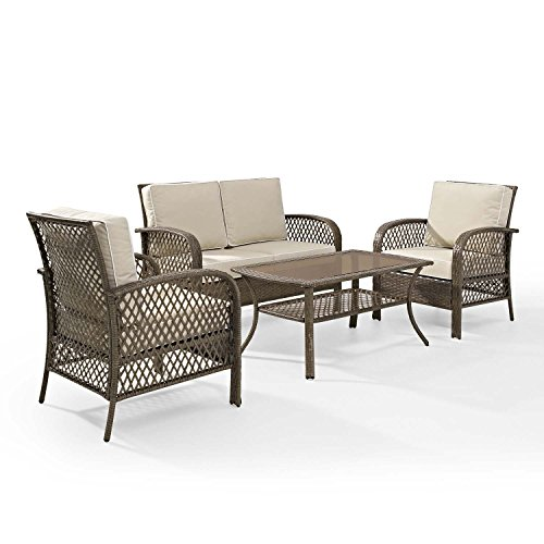 ... Tribeca 4 Piece Deep Seating Group Outdoor Patio Conversation Set   UV  Protection Wicker Rattan Steel ...