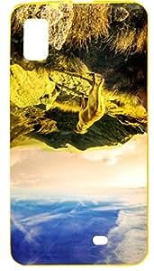 Premium Soft Gold Metallic Print Fancy Back Cover For Panasonic T44 Lite - Hill Design