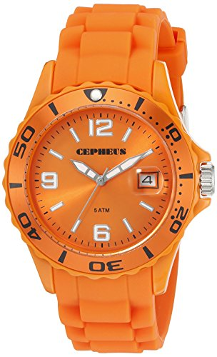 Cepheus Men's Quartz Watch with Orange Dial Analogue Display and Orange Silicone Strap CP603-090E-1