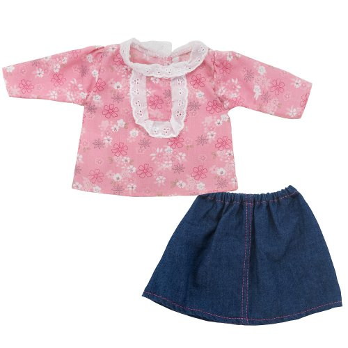 You & Me 12-14 Inch Doll Fashion Outfit - Pink Top With Denim Skirt front-888745