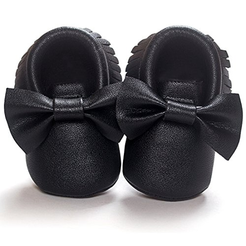 DESDEMONA Bow PU Leather Baby Boy Girl Infant Toddler Pre-walker Crib Shoes (M(5.3inches), Black)