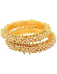 JFL- Traditional & Ethnic One Gram Gold Plated Designer Bangles With Pearl For Women & Girls.