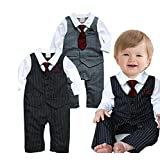 EGELEXY Baby Boy Formal Party Wedding Tuxedo Waistcoat Outfit Suit 18-24months Black Size: 18-24 Months Color: Black, Model: WANG07349B-95, Newborn & Baby Supply
