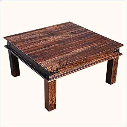 Rustic Wood Espresso Square Cocktail Sofa Coffee Table