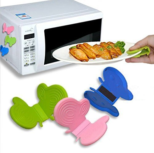 gangnumsky-2Pcs/lot Silicone Cool Tool Surface Protectors Butterfly Shaped Magnet Taking Plate Clamp Clip Protecting Heat Insulation Oven (Slotted Spoon Mercer compare prices)
