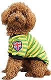(Banly Shop)ペット服 ボーダー ペット わんちゃん ウェア パーカー 小型犬 中大型犬 コットン 犬服 可愛い お散歩 春 夏 5サイズ 4色 (XL,green)