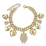 Long Way Summer Style Gold Bracelets for Women Fashion Crystal Owl Love Pendant Charm Bracelets Bangles Friendship Jewelry