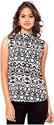 OSSI Women's Sleeveless Top (HS3073, Black and White, X-Large)