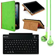 buy Vangoddy Mary Standing Portfolio Case For Insignia 8 Inch Tablets With Bluetooth Keybard & Headphones (Green/Brown)