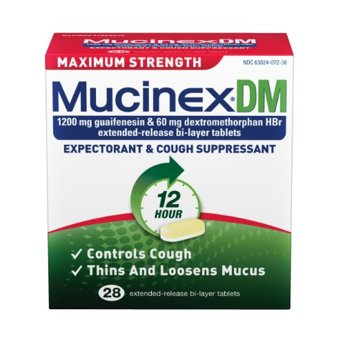 Mucinex Max Strength Dm Expectorant & Cough Suppressant, Bi Layer Tablets, 28-Count Bottle