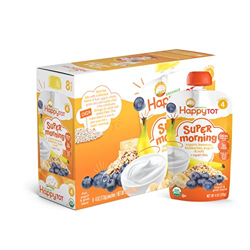 Happy Tot Organics Super Morning, Organic Bananas,  Blueberries, Yogurt & Oats + Super Chia, 4 oz (Pack of 8)