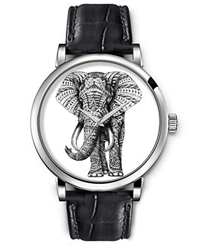 Sprawl Aanalog Ladies Women Top Wrist Watch Silver Large Face Black Leather Quartz Watches -- Retro Flroal Elephant Watch For Kids front-1019248