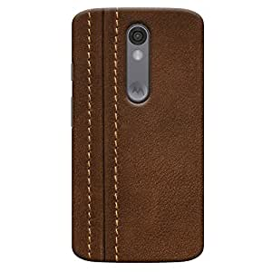 ColourCrust Motorola Moto X Force Mobile Phone Back Cover With Leather Look - Durable Matte Finish Hard Plastic Slim Case