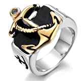 Stainless Steel Ring for Men, Anchor Ring Gothic Silver Band Gold Size 11 Epinki