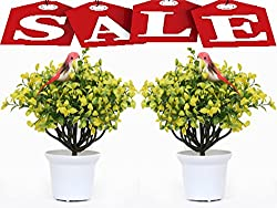 SALE!!!SALE!!!SALE!!!( SET OF 2 FLOWER POT)SArtificial flower with pot best quality natural realistic sparrow under grass tree pot best for home decor and gift