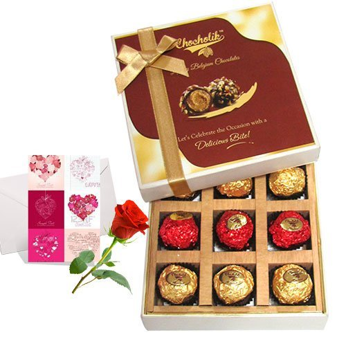 Valentine Chocholik's Belgium Chocolates - Mesmerizing Chocolates With Love Card And Rose