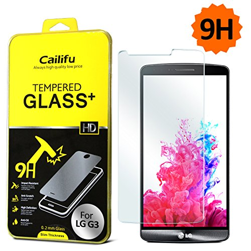 Cailifu [0.2Mm Tempered Glass] Lg G3 Highest Quality Premium High Definition Ultra Clear Screen Protector With Lifetime Replacement Warranty [1-Pack] - Retail Packaging 2014 (0.2Mm,2.6D Rounded Edges)