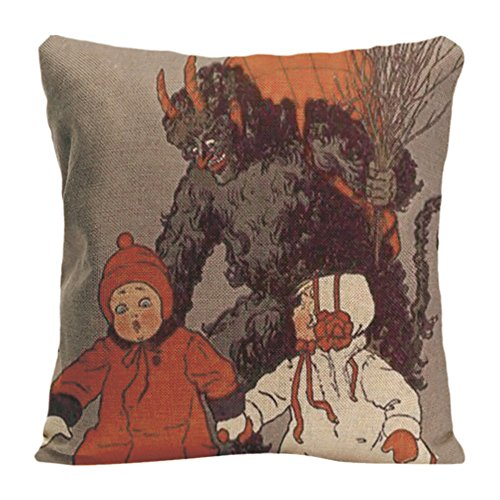 Ldj-Cotton-Polyester-Sofa-Chair-Square-Throw-Pillow-Case-Decorative-Cushion-Cover-Pillowcase-Design-With-Krampus-Chasing-Children-Switch-Pad-Custom-Pillow-Cover-Print-Double-Side-Sized-20X20-Inches
