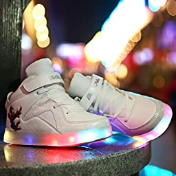 Children\'s Sneakers Boy/girls Flat Charging Luminous Lighted Colorful LED Lights Shoes Kids Casual Flat Students Shoes Size 25-37 (White, 12)