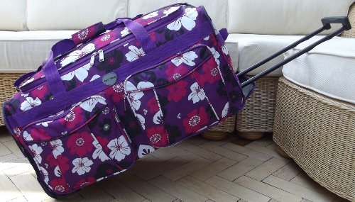 Purple Travel Holdall Luggage Bag On Wheels Flowers trolley wheeled