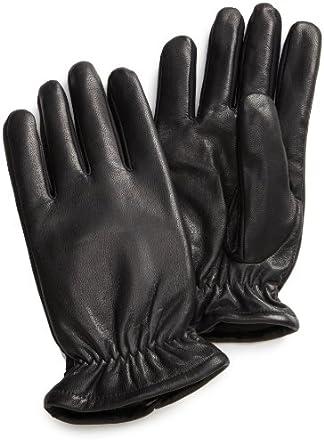 Isotoner Men's Stretch Leather Glove,Black,Med/Large