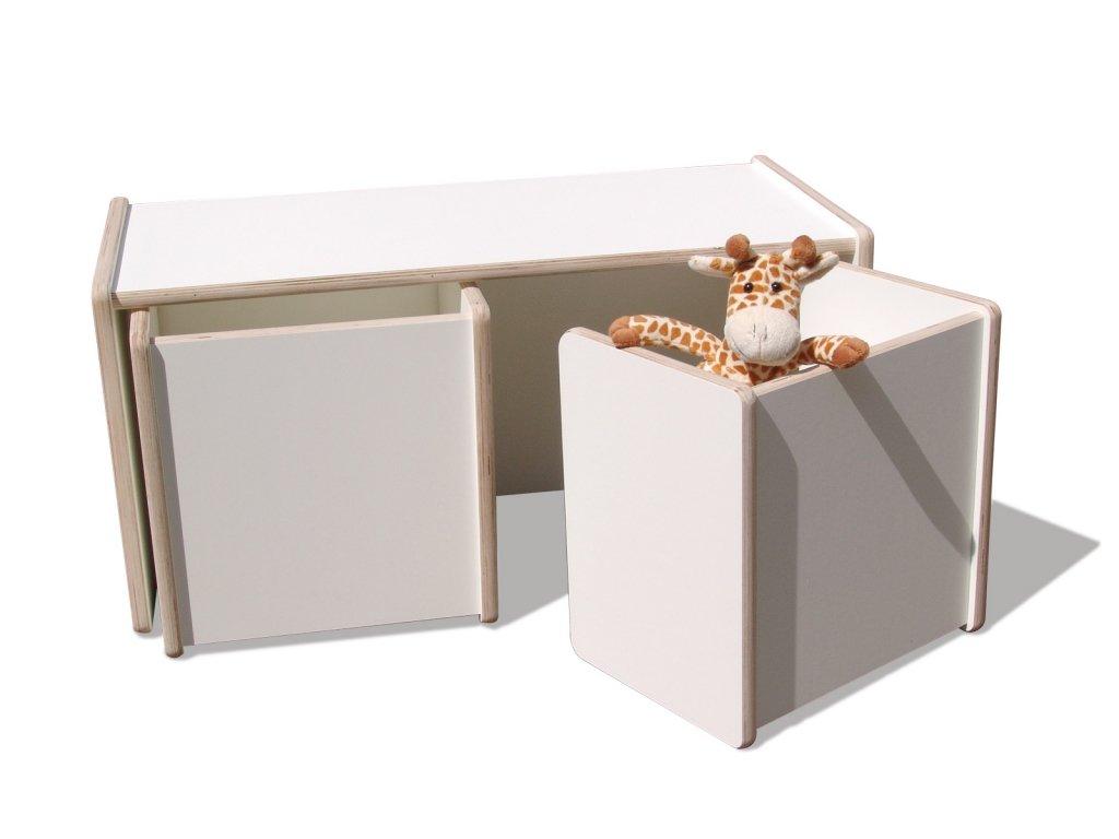 1 Kinder Wendetisch & 2 Wendehocker Set – weiß – Premium bestellen