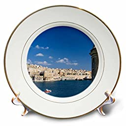 3dRose cp_208145_1 View of Valletta with Grand Harbor Seen From Senglea, Malta. Unesco-Porcelain Plate, 8\