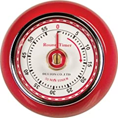 Fox Run Retro Kitchen Timer with Magnet Red