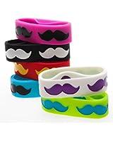 Jumbo Mustache Rubber Bracelets 1dz
