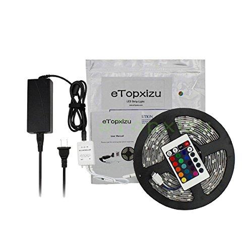 Etopxizu 16.4Ft 5050 Waterproof 300Leds Rgb Color Changing Flexible Led Strip Light Lamp Kit + 24Key Ir Remote Controller + 12V5A Power Supply