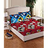 Disney- Athom Trendz- Mickey Mouse Cotton Double Bed Sheet Set- Red
