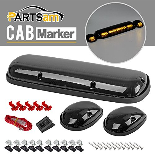 Partsam 3PCS Smoke Cover Amber 30 LED Cab Marker Roof Running Top Lights for 02-07 Chevy Silverado/GMC Sierra (06 Gmc Sierra Cab Roof Lights compare prices)