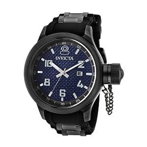 Invicta Men's 0554 Russian Diver Collection Carbon Fiber Black Rubber Watch