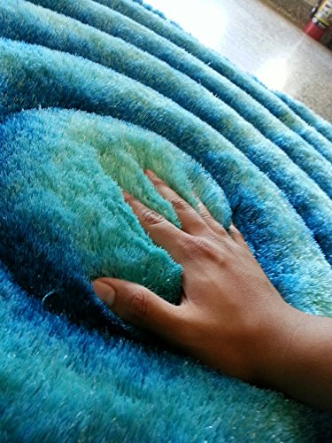 ~5 Ft. X 7 Ft. Area Rug Turquoise Shaggy with 3D Design, Hand Tufted, Now on Sale!