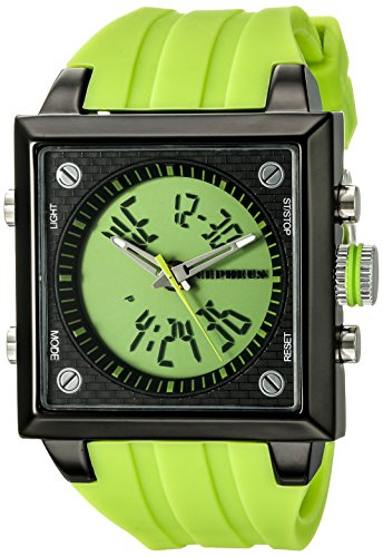 Cepheus Men's Quartz Watch with Green Dial Analogue - Digital Display and Green Silicone Strap CP900-690A