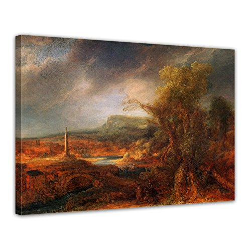 """Bilderdepot24 Leinwandbild Rembrandt - Alte Meister """"Landschaft mit Obelisk"""" 70x50cm - fertig gerahmt, direkt vom Hersteller"""