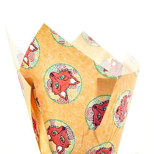 Impresión De Fox Muffin Envolturas De Tulipán x 24 Tazas Para Hornear Foxy