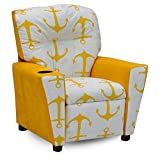 Kidz World Anchors Yellow Kid's Recliner with Cup Holder, Yellow Suede