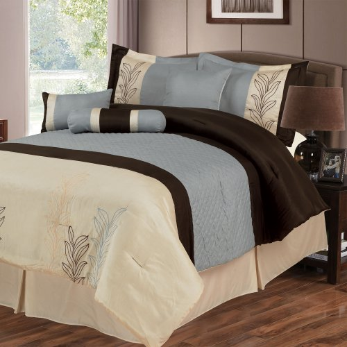 Lavish Home Samantha 7-Piece Embroidered Comforter Set, Queen front-601952