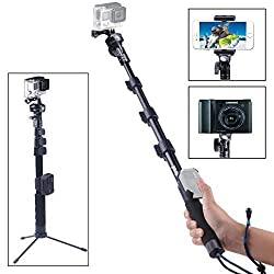 Smatree Gopro Accessories - SmaPole Y2 Telescoping Gopro Pole / Gopro Monopod + 1/4?Tripod Mount Adapter+ Detachable Cradle/ClipCase of WiFi Remote Controller + Folding 3 Leg Support Stand, for GoPro Hero 4 3+ 3 2 1 HD, SJ400