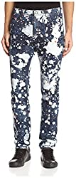 Versace Jeans Men's EA2GIB0T7-EAFS9K-E904 Splatter Print Slim Jeans, Indigo, 36 US