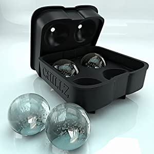 Chillz Ice Ball Maker - Black Flexible Silicone Ice Tray - Molds 4 X 4.5cm Round Ice Ball Spheres
