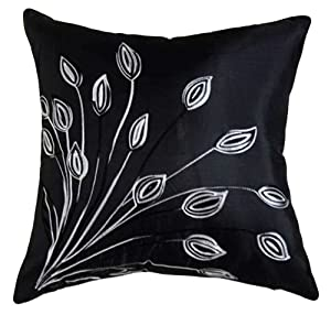 """That's Perfect!® Lotus Leaves 18""""x18"""" Decorative Silk Throw Pillow Cover (Black)"""