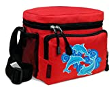 DOLPHIN Lunch Box Cooler Bag Insulated Red Dolphins