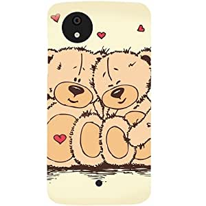 Casotec Teddy Bear Love Design Hard Back Case Cover for Micromax Canvas A1
