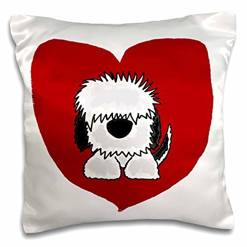 fun-white-old-english-sheepdog-puppy-dog-and-red-heart-love-pillow-case-16-by-16