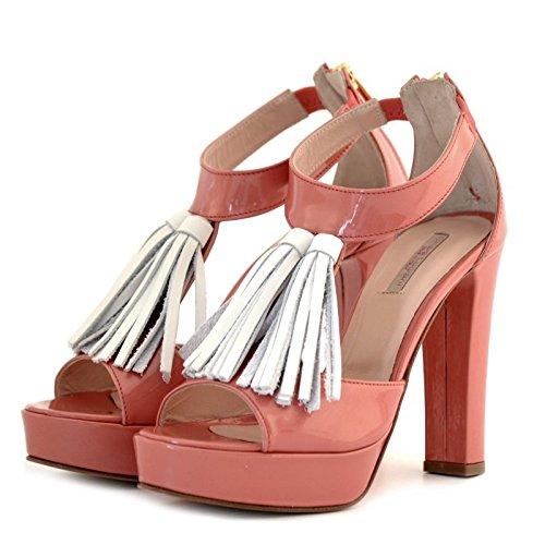 Sandali Chiara Luciani rosa corallo vernice tacco 38