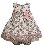 Size-24M, Black/White, BNJ-8038R, 2-Piece Black/White and Pink Butterfly Floral Toile Print Dress,Bonnie Jean Baby-Infant Flower Girl Easter Party Dress